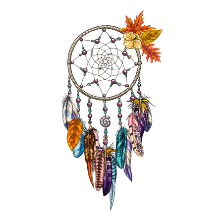 Hand drawn ornate Dreamcatcher with feathers and autumn leaves. Magic symbol, ethnic tribal element. Vector illustration