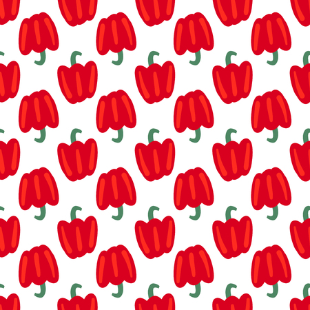 Vegetable seamless pattern with bulgarian pepper on a white background. Healthy food backdrop for your design. Vector illustration