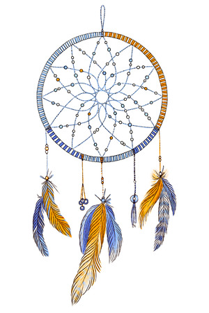 Hand drawn ornate Dream catcher with feathers in soft trendy colors. Astrology, spirituality, magic symbol. Ethnic tribal element