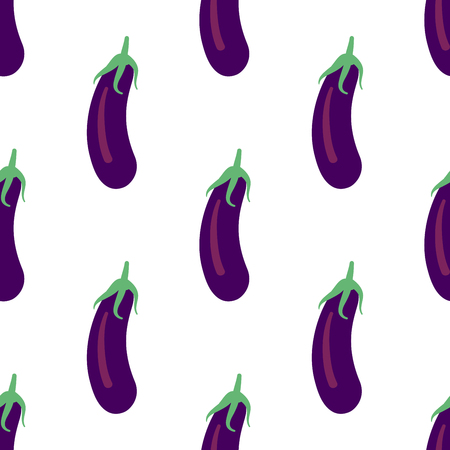 Vegetable seamless pattern with eggplants on a white background. Healthy food backdrop for your design. Vector illustration