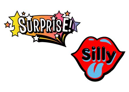 Bright vector Surprise and Silly speech bubbles. Colorful emotional icons isolated on white background. Comic and cartoon style