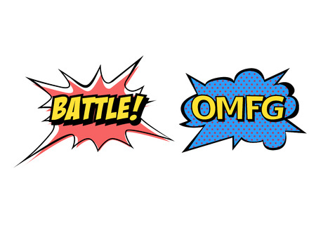 Bright vector OMFG and Battle speech bubbles. Colorful emotional icons isolated on white background. Comic and cartoon style Illustration
