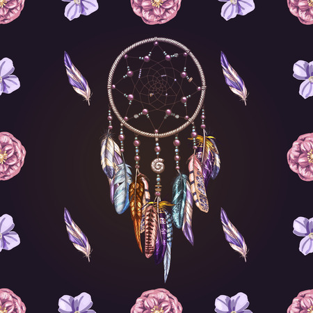 Vector seamless pattern with beautiful hand drawn dream catcher on a deep dark background. Detailed amulet and elements for your design and textiles