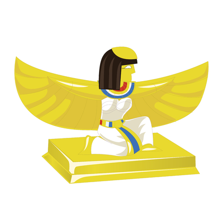 Egyptian pharaoh golden figurine isolated on white background. Vector illustration Illustration