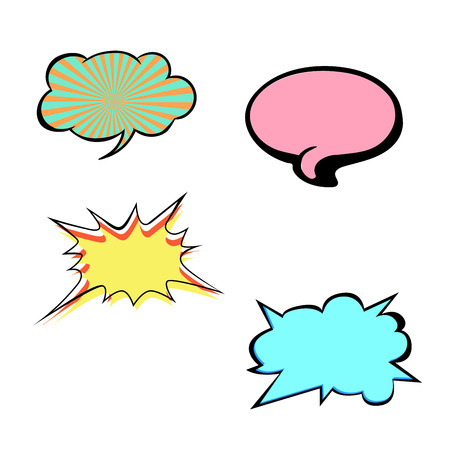 Set of bright colorful blank vector speech bubbles. Colorful icons isolated on white background. Comic and cartoon style