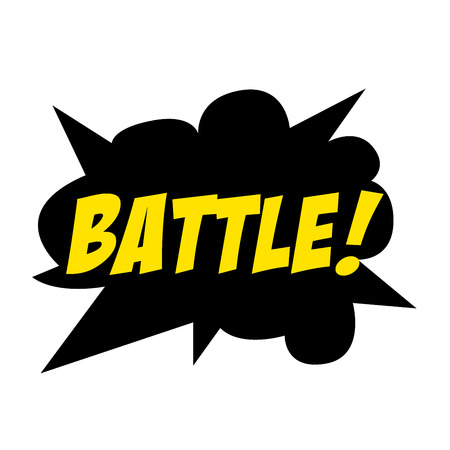 Bright vector Battle speech bubble BATTLE. Colorful emotional icon isolated on white background. Comic and cartoon style Illustration