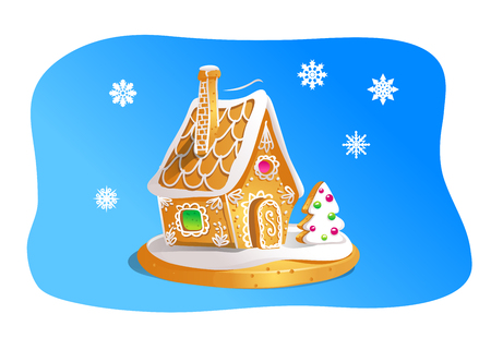 Hand drawnin gingerbread house isolated on blue background. Christmas cookies. Brown and white colors