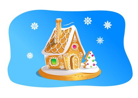 Handgezeichnetes Lebkuchenhaus isoliert auf blauem Hintergrund. Weihnachtsplätzchen. Braune und weiße Farben