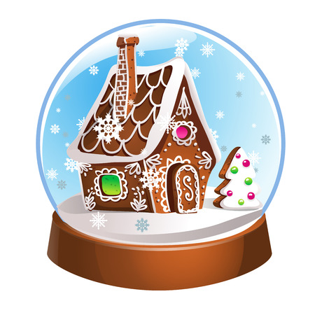 Snow Globe with gingerbread house and snowflakes inside. Christmas decoration. Crystal ball isolated on white background