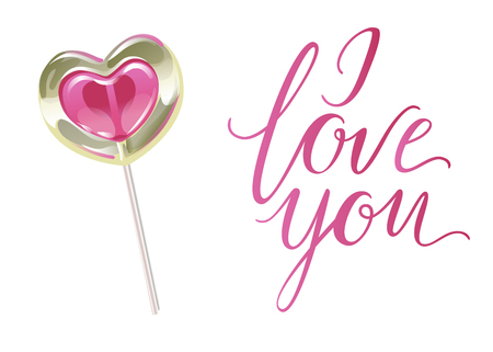 Romantic lollipop in the shape of a heart and I LOVE YOU inscription . Sweetness for Valentines day. Vector illustration