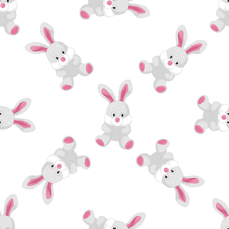 Vector seamless pattern with bunnies. Cute animal backdrop for textiles and any other design for children
