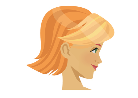 Lady avatar flat color icon isolated on white background. Head of a beautiful blonde woman