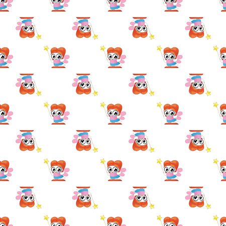 Vector seamless pattern with fairies. Cute backdrop for textiles and any other design for children 일러스트