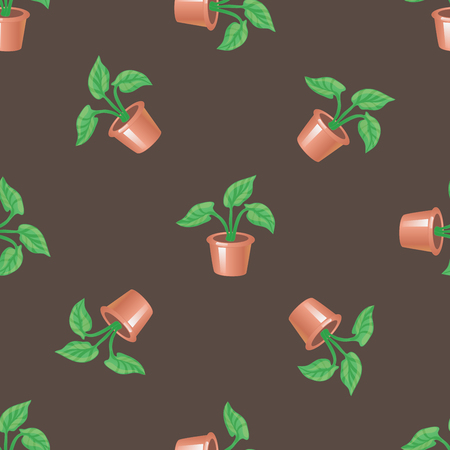 Vector seamless pattern with pot and plant on a brown background. Stylish homely backdrop for textiles and any other design