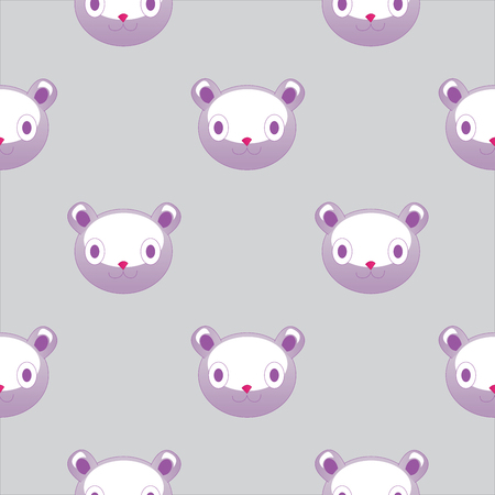Vector seamless pattern with plush teddy head. Cute backdrop for textiles and any other design for children