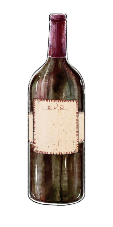 Illustration with a bottle of red wine isolated on white background. Wine collection. Gourmet drinks. Blank label