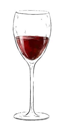 Illustration with a glass of red wine isolated on white background. Wine collection. Gourmet drinks Stock Photo