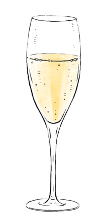 Illustration with a glass of sparkling wine isolated on white background. Champagne wine collection. Gourmet drinks