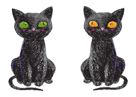 Two hand drawn cute black witch cats isolated on white background. Pencil drawing. Scary Halloween collection