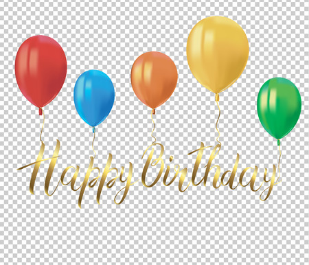 Realistic colorful balloons with reflects and the golden inscription HAPPY BIRTHDAY on transparent background. Festive decor element for Birthday party or balloon greeting card design element. Vector