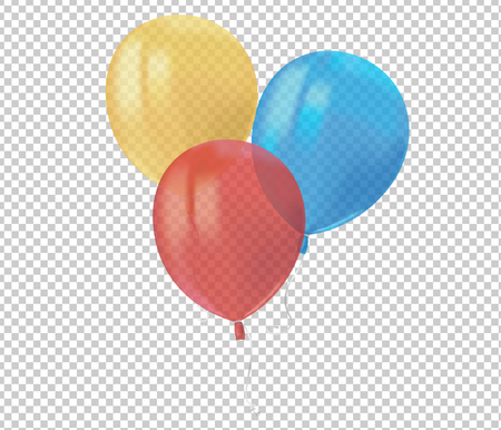Composition of realistic air flying colorful balloons with reflects isolated on transparent background. Festive decor element for Birthday party or balloon greeting card design element. Vector