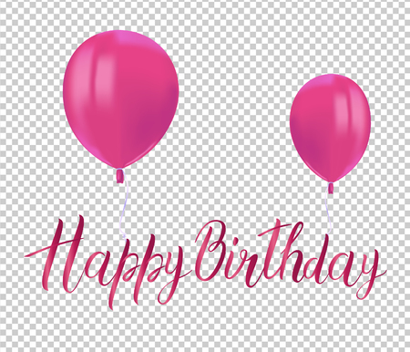 Realistic pink balloons with reflects and inscription HAPPY BIRTHDAY on transparent background. Festive decor element for Birthday party or balloon greeting card design element. Vector