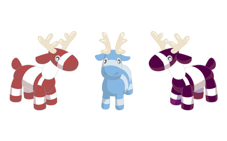 Toy deers illustration on white background. Christmas tree decoration with holly. Lovely simple children s toy. Merry Christmas and Happy New Year style. Stock Photo
