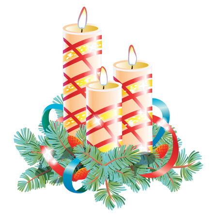 Christmas decorative composition. Three burning wax candles decorated with spruce branch and ribbon. Seasonal winter collection illustration
