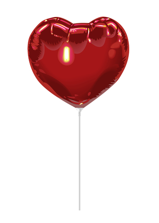 Realistic 3D red foil balloon in the shape of a heart with reflects isolated on white background. Festive decor element for any holiday. Vector illustration