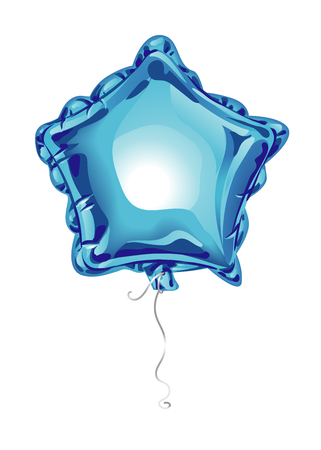 Realistic 3D blue foil balloon in the shape of a star with reflects isolated on white background. Festive decor element for any holiday. Vector illustration