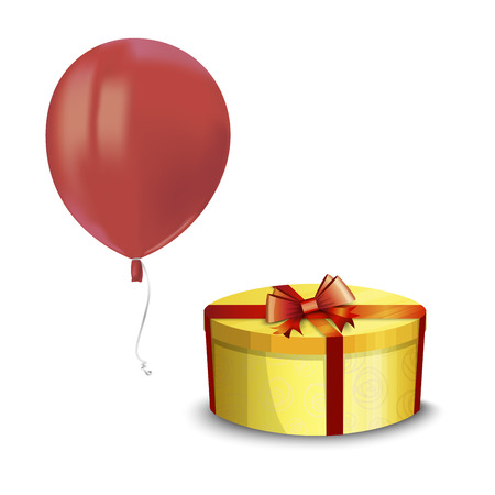 Realistic air flying red balloon with reflects and yellow gift box isolated on white background. Festive decor element for any holiday. Vector illustration