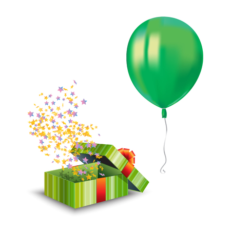 Realistic air flying green balloon with reflects and a gift box isolated on white background. Festive decor element for any holiday. Vector illustration
