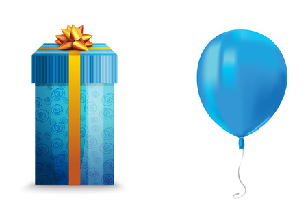 Realistic air flying blue balloon with reflects and a gift box isolated on white background. Festive decor element for any holiday. Vector illustration