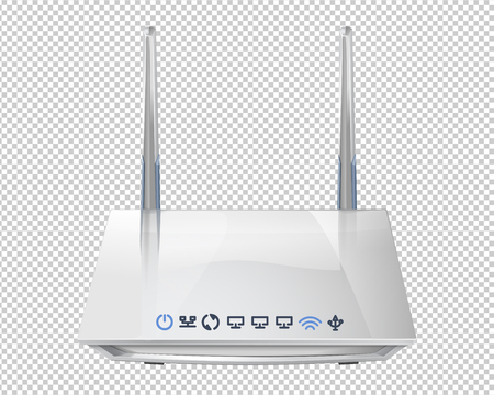 Realistic 3D wireless router isolated on transparent background. Source of wi-fi and theInternet. Vector illustration Illustration