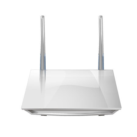 Realistic 3D wireless router isolated on white background. Source of wi-fi and the Internet. Vector illustration  イラスト・ベクター素材