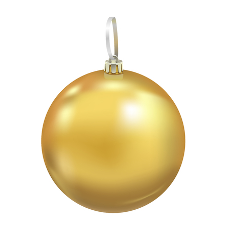 Beautiful realistic New Year 3D glassy yellow ball with reflects isolated on white background. Traditional decoration for a Christmas tree. Vector illustration Ilustrace