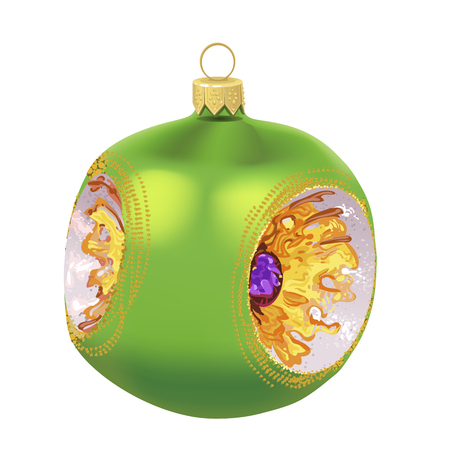 Beautiful realistic New Year 3D glassy green ball with ornament inside isolated on white background. Traditional decoration for a Christmas tree. Vector illustration