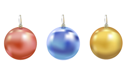 Set of beautiful realistic New Year 3D glassy balls with reflects isolated on white background. Traditional decoration for a Christmas tree. Vector illustration