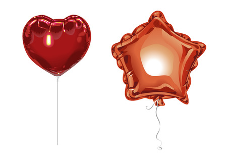 Two realistic 3D foil balloons with reflects isolated on white background. Festive decor element for any holiday. Vector illustration