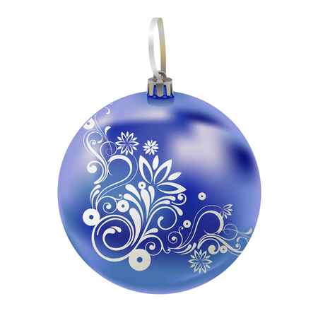 Beautiful realistic New Year 3D glassy blue ball with reflects and winter pattern isolated on white background. Traditional decoration for a Christmas tree. Vector illustration Ilustrace