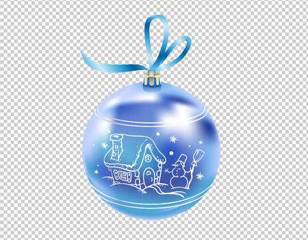 Beautiful realistic New Year 3D glassy blue ball with reflects and winter pattern isolated on transparent background. Traditional decoration for a Christmas tree. Vector illustration