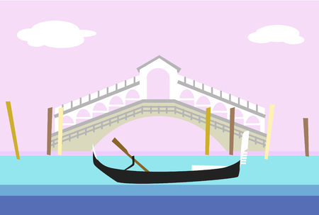 Venice city colorful flat style vector illustration. Cityscape with bridge and gondola. Composition for your design Ilustrace
