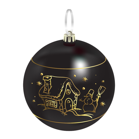 Beautiful realistic New Year 3D glassy black ball with reflects and winter pattern isolated on white background. Traditional decoration for a Christmas tree. Vector illustration