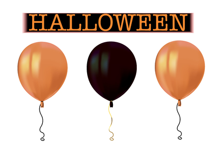 Halloween air flying balloons with reflects isolated on white background. Orange and black balloons. Halloween vector collection