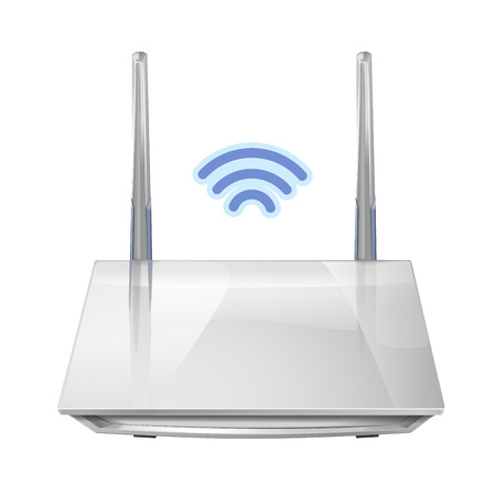 Realistic 3D wireless router isolated on white background. Source of wi-fi and the Internet. Vector illustration Illustration