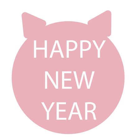 Flat simple style piglet Chinese zodiac symbol of the year. Happy New Year vector illustration