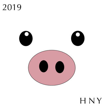 Cute funny pig face on white background. Flat simple style piglet Chinese zodiac symbol of the year. Vector illustration