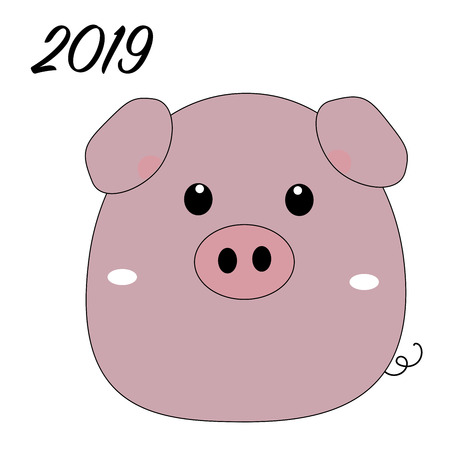Cute funny pig isolated on white background. Flat simple style piglet Chinese zodiac symbol of the New 2019 Year. Vector illustration