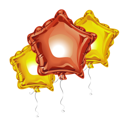 Composition of realistic 3D foil balloons in the shape of a star with reflects isolated on white background. Festive decor element for any holiday. Vector illustration Ilustrace
