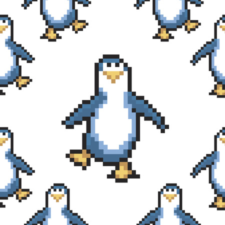 Seamless pattern with penguins. Cute pixel penguins. 8 bit vector illustration. Winter animals pattern